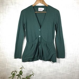 Anthro Rosie Neira Sweep Front Green Cardigan